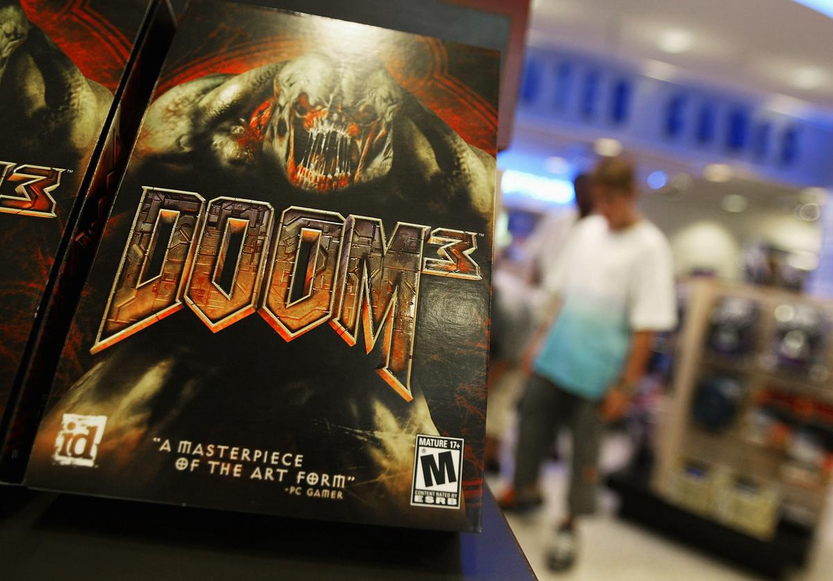 The video game 'Doom 3' is displayed on a computer and game store shelf August 4, 2004 in New York City. 'Doom 3', the $55 sequel, hit stores nationwide August 3 and quickly sold out at many retailers. The game typifies the first person shooter genre pioneered in the early 1990s with the original 'Doom,' 'Quake' and 'Wolfenstein 3D' games.