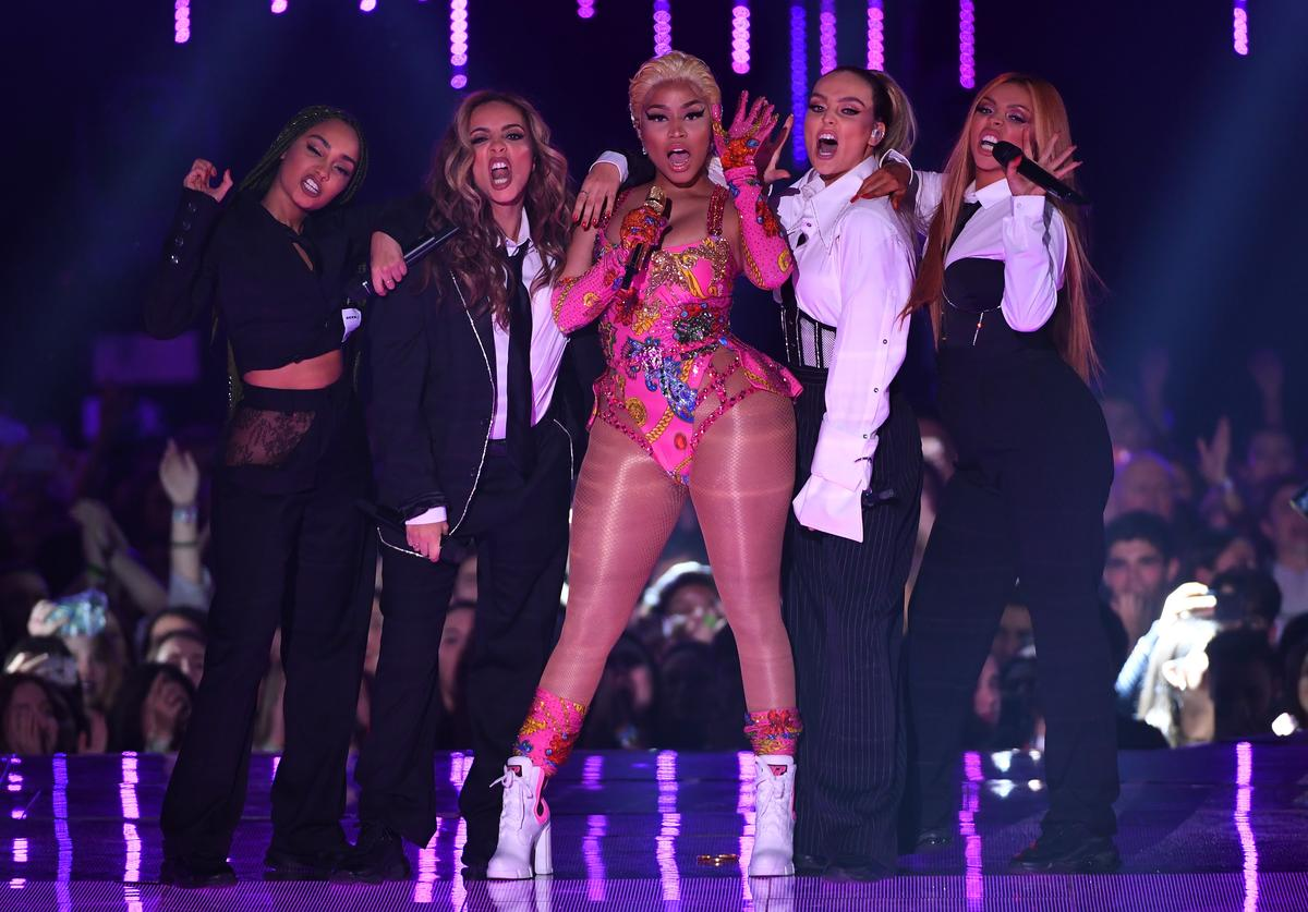 Leigh-Anne Pinnock and Jade Thirlwall of Little Mix, Nicki Minaj, Perrie Edwards and Jesy Nelson of Little Mix perform on stage during the MTV EMAs 2018 at Bilbao Exhibition Centre on November 4, 2018 in Bilbao, Spain
