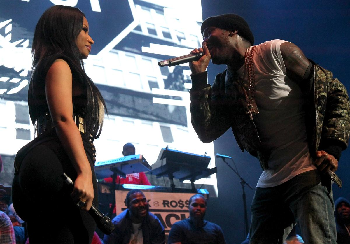 Nicki Minaj and Meek Mill perform onstage during 105.1's Powerhouse 2015 at the Barclays Center on October 22, 2015 in Brooklyn, NY