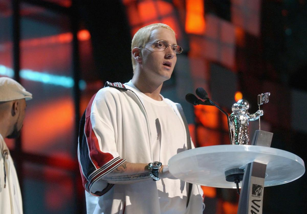 Eminem accepts the award for Best Video From A Film during the 2003 MTV Video Music Awards at Radio City Music Hall on August 28, 2003 in New York City.