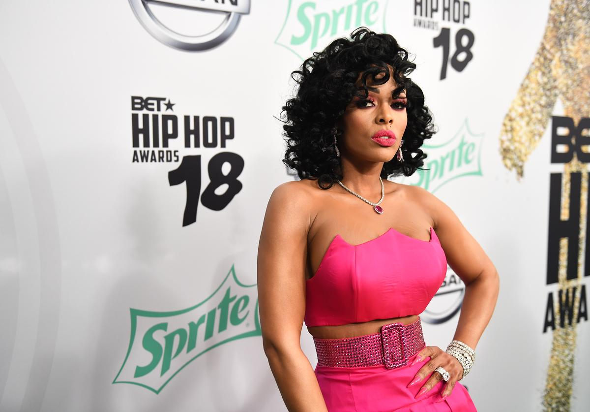 Keyshia Ka'Oir arrives at the BET Hip Hop Awards 2018 at Fillmore Miami Beach on October 6, 2018 in Miami Beach, Florida