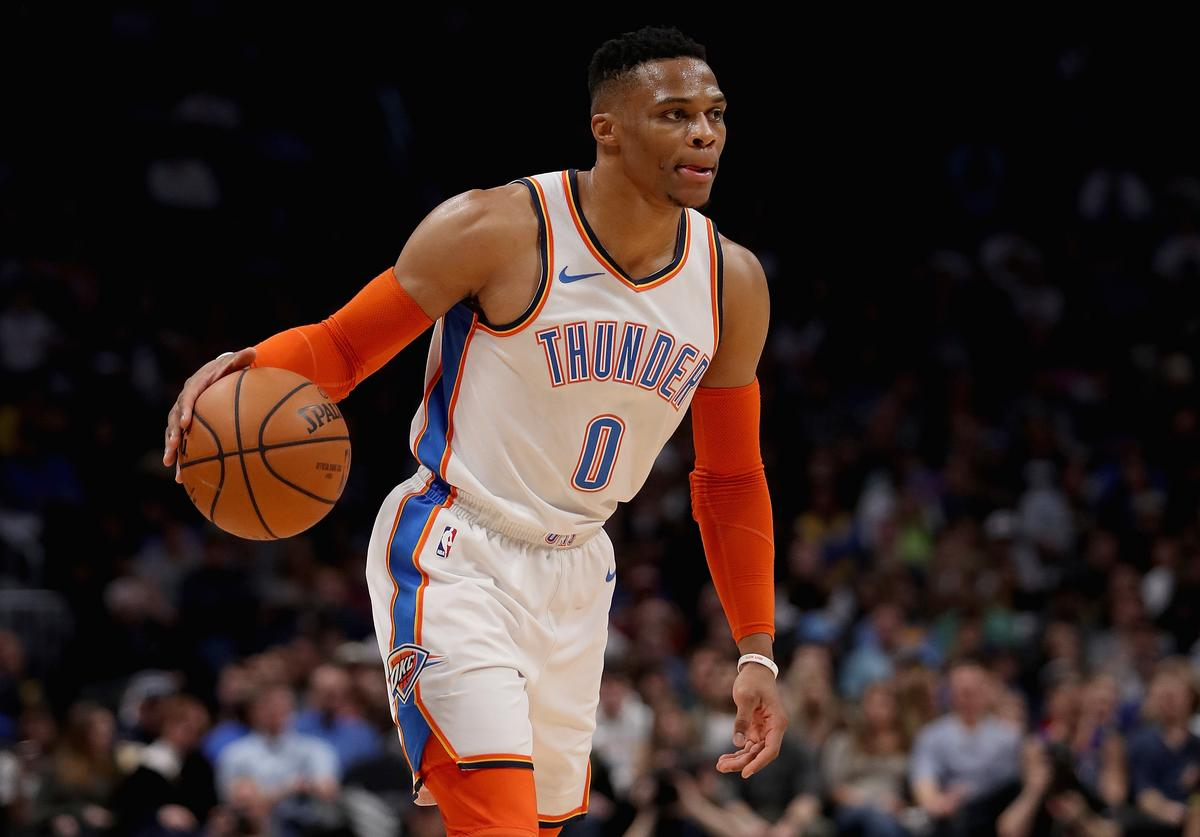 Russell Westbrook #0 of the Oklahoma City Thunder plays the Denver Nuggets at the Pepsi Center on December 14, 2018 in Denver, Colorado. NOTE TO USER: User expressly acknowledges and agrees that, by downloading and or using this photograph, User is consenting to the terms and conditions of the Getty Images License Agreement.