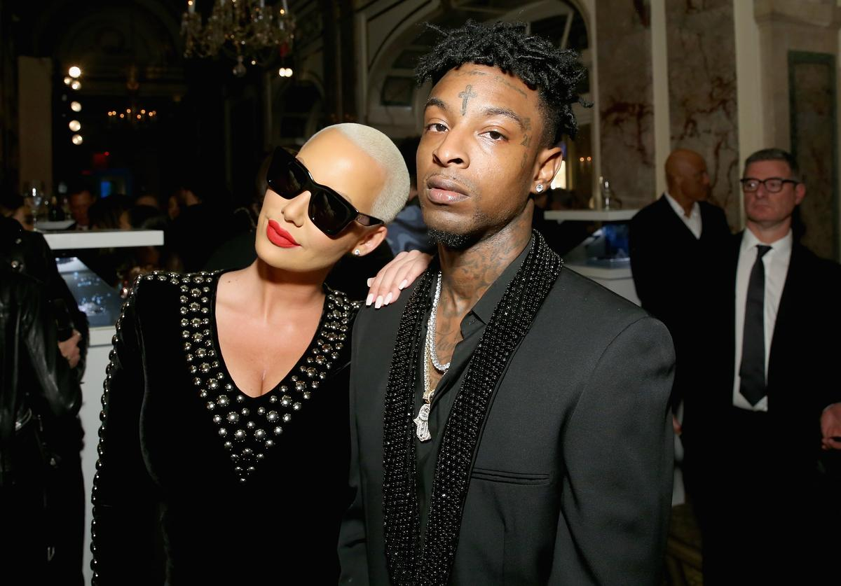 Amber Rose (L) and 21 Savage attend Harper's BAZAAR Celebration of 'ICONS By Carine Roitfeld' at The Plaza Hotel presented by Infor, Laura Mercier, Stella Artois, FUJIFILM and SWAROVSKI on September 8, 2017 in New York City