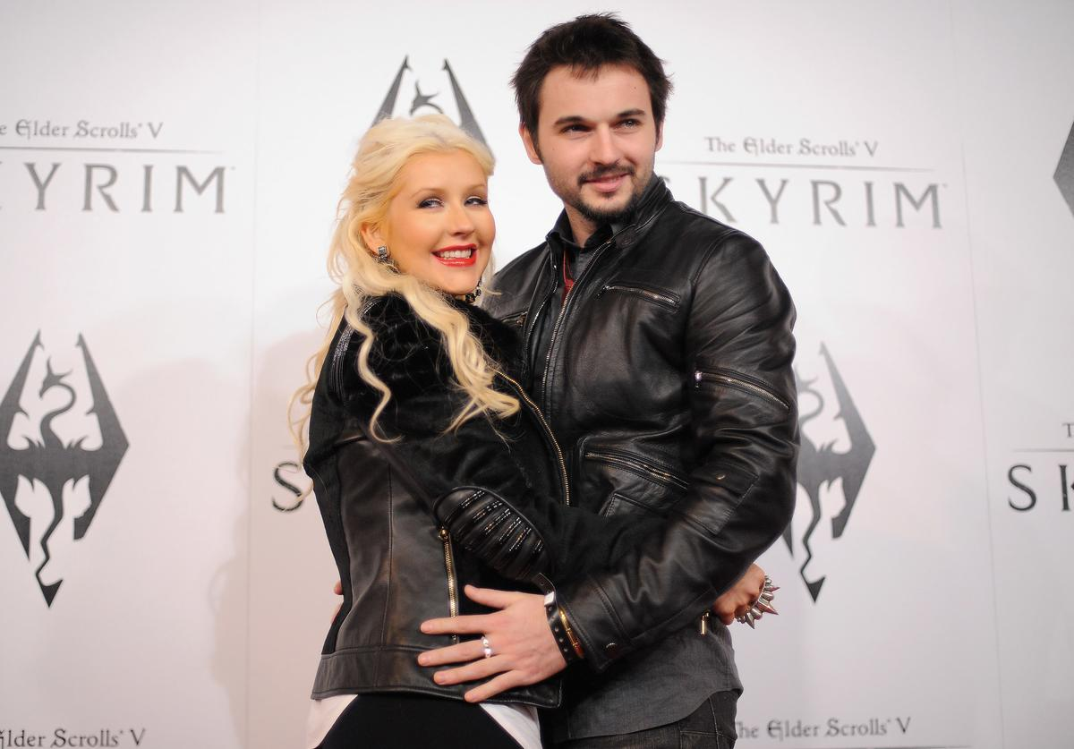 Christina Aguilera and Matt Rutler arrive at the official launch party for the most anticipated video game of the year, The Elder Scrolls V: Skyrim, at the Belasco Theatre on November 8, 2011 in Los Angeles, California