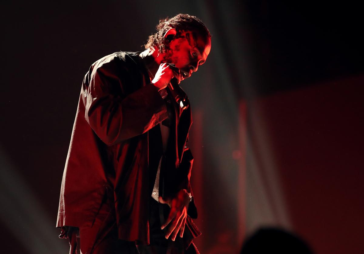 Kendrick Lamar performs onstage during the 60th Annual GRAMMY Awards at Madison Square Garden on January 28, 2018 in New York City