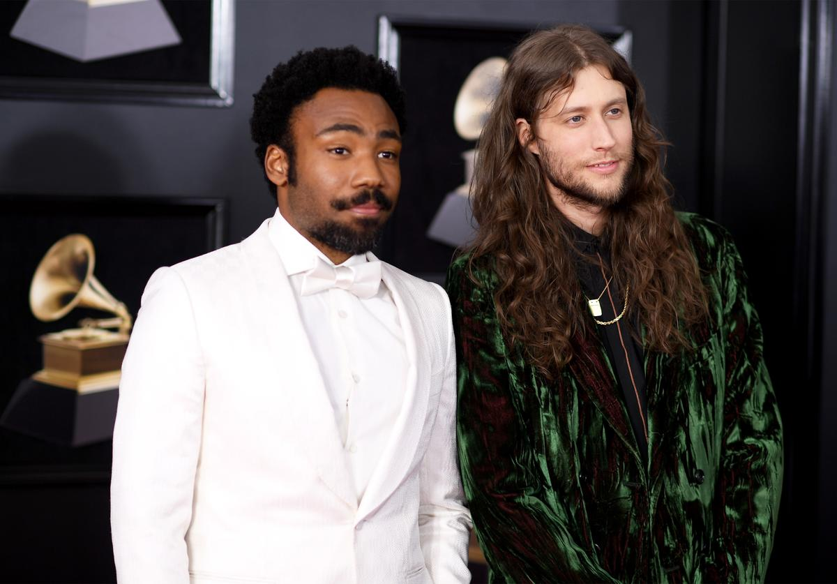 Recording artist Childish Gambino (L) and composer Ludwig Goransson attend the 60th Annual GRAMMY Awards at Madison Square Garden on January 28, 2018 in New York City.
