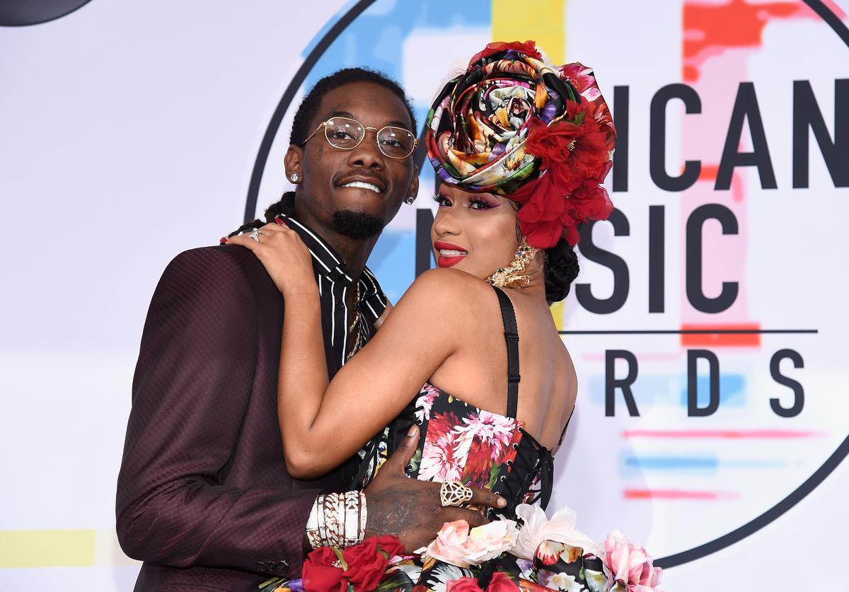 Offset of Migos (L) and Cardi B attends the 2018 American Music Awards at Microsoft Theater on October 9, 2018 in Los Angeles, California.