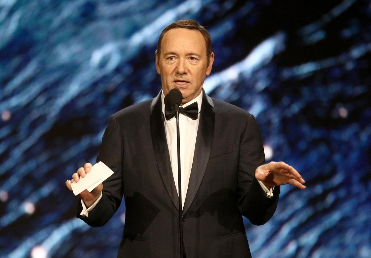 Kevin Spacey onstage to present Britannia Award for Excellence in Television presented by Swarovski at the 2017 AMD British Academy Britannia Awards Presented by American Airlines And Jaguar Land Rover at The Beverly Hilton Hotel on October 27, 2017 in Beverly Hills, California