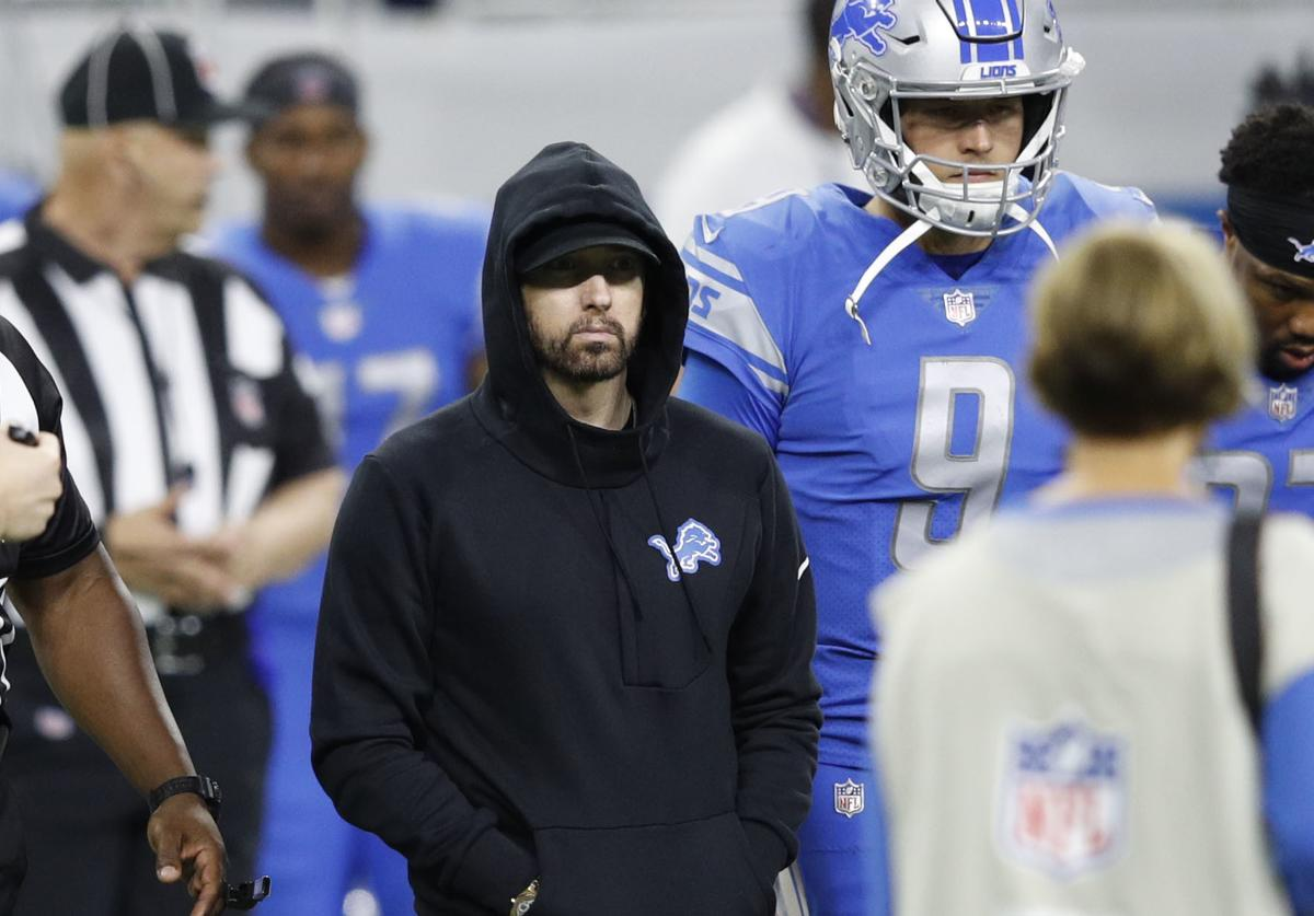 Eminem takes the field for the coin toss prior to the game between the New York Jets and Detroit Lions at Ford Field on September 10, 2018 in Detroit, Michigan