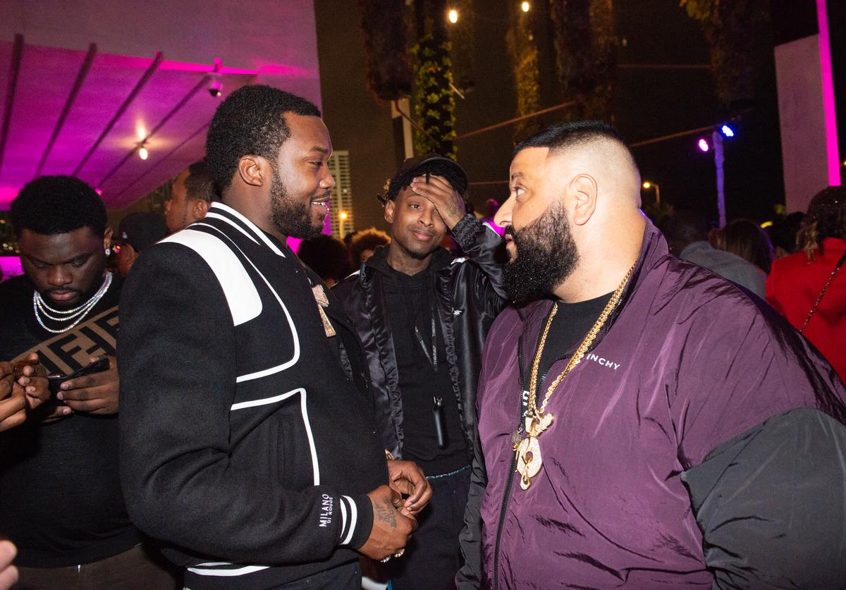 Meek Mill, 21 Savage and Dj Khaled attend Nicole & DJ Khaled's Birthday Celebration With Haute Living And Roger Dubuis at Perez Art Museum Miami on December 9, 2018 in Miami, Florida