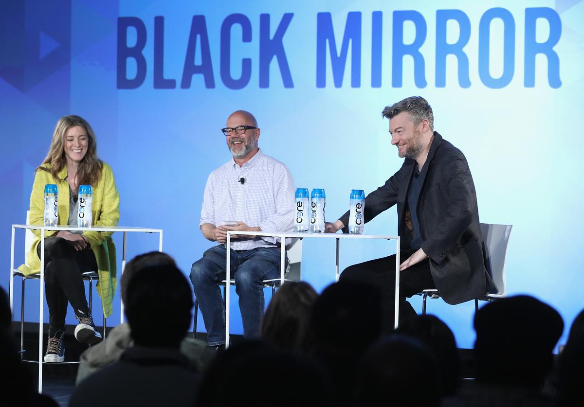 Show Creator Annabel Jones, Editor Andrew Sullivan and Show Creator Charlie Booker speak onstage at the Black Mirror panel during the 2017 Vulture Festival at Milk Studios on May 21, 2017 in New York City