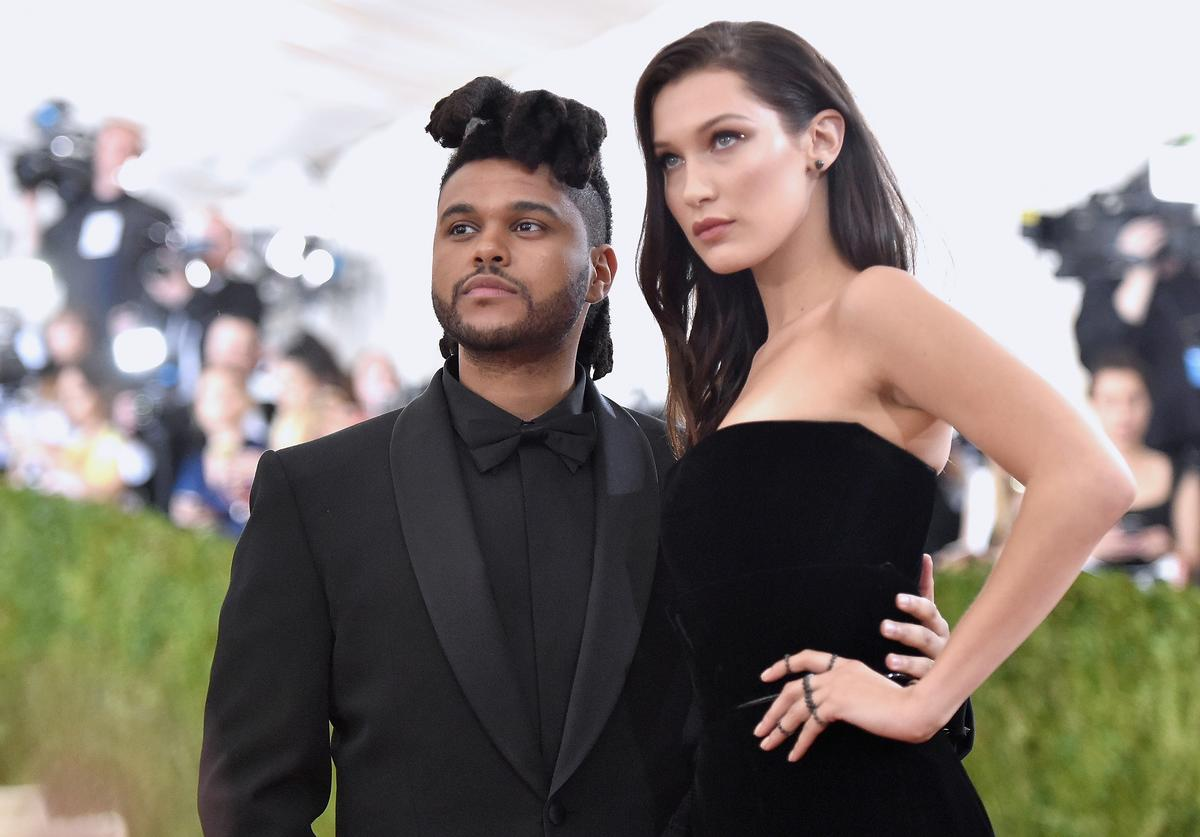 The Weeknd (L) and Bella Hadid attend the 'Manus x Machina: Fashion In An Age Of Technology' Costume Institute Gala at Metropolitan Museum of Art on May 2, 2016 in New York City