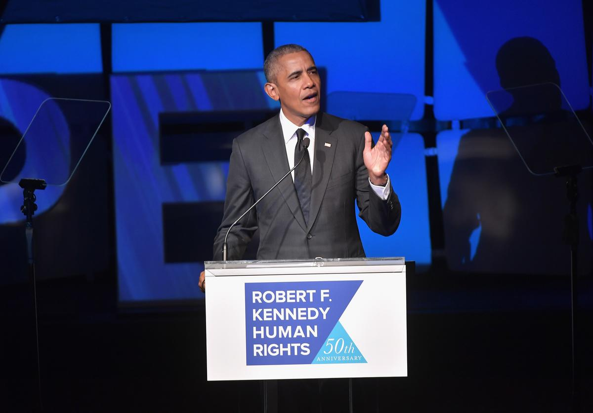Barack Obama speaks onstage during the 2019 Robert F. Kennedy Human Rights Ripple Of Hope Awards on December 12, 2018 in New York City