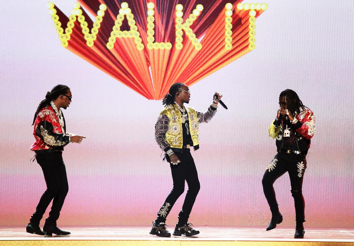 Takeoff, Quavo and Offset of Migos perform onstage at the 2018 BET Awards at Microsoft Theater on June 24, 2018 in Los Angeles, California