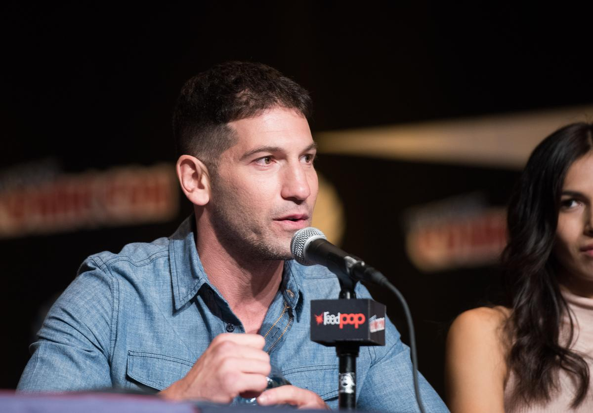 : Jon Bernthal speaks at the Netflix Presents The Casts Of Marvel's Daredevil And Marvel's Jessica Jones At New York Comic-Con at Jacob Javits Center on October 10, 2015 in New York City.