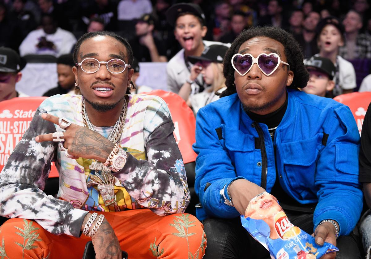 Quavo and Takeoff of Migos attend the 2018 Taco Bell Skills Challenge at Staples Center on February 17, 2018 in Los Angeles, California