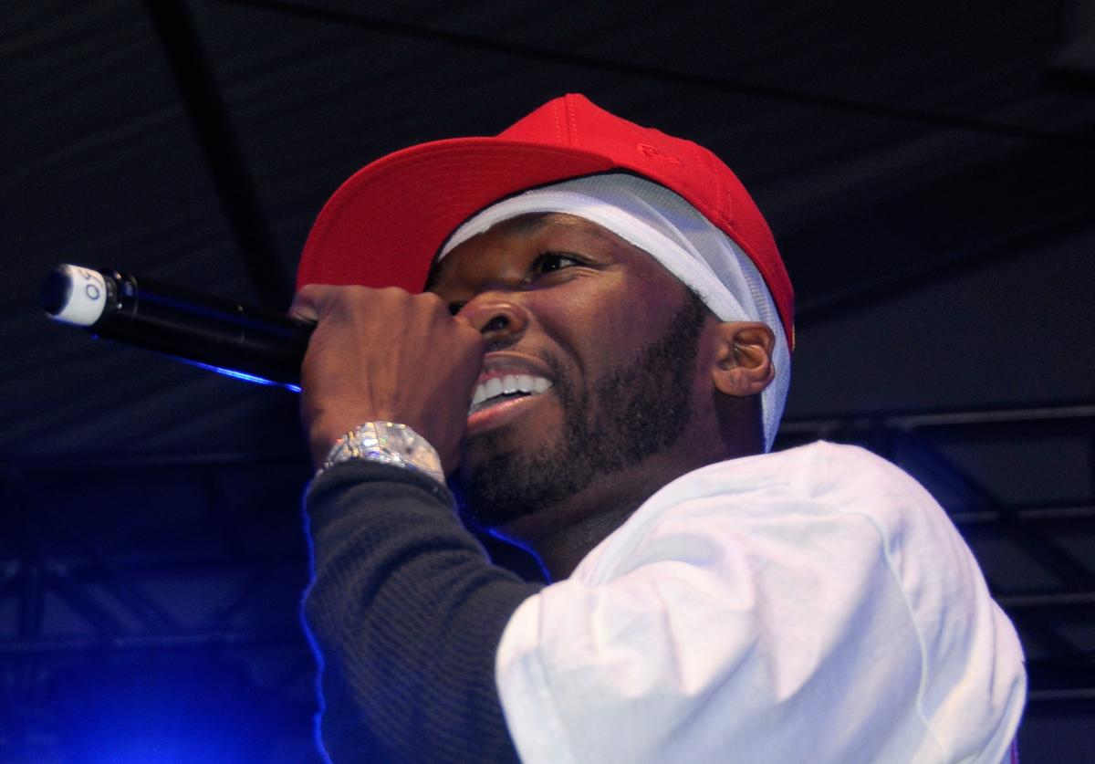50 Cent performs at the Celebrity Beach Bowl presented by Matt Leinart at the Scottsdale Waterfront at Stetson Canal on January 31, 2008 in Scottsdale, Arizona
