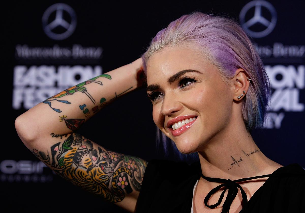 : Ruby Rose arrives at the MBFWA Trends show during Mercedes-Benz Fashion Festival Sydney 2013 at Sydney Town Hall on August 21, 2013 in Sydney, Australia.