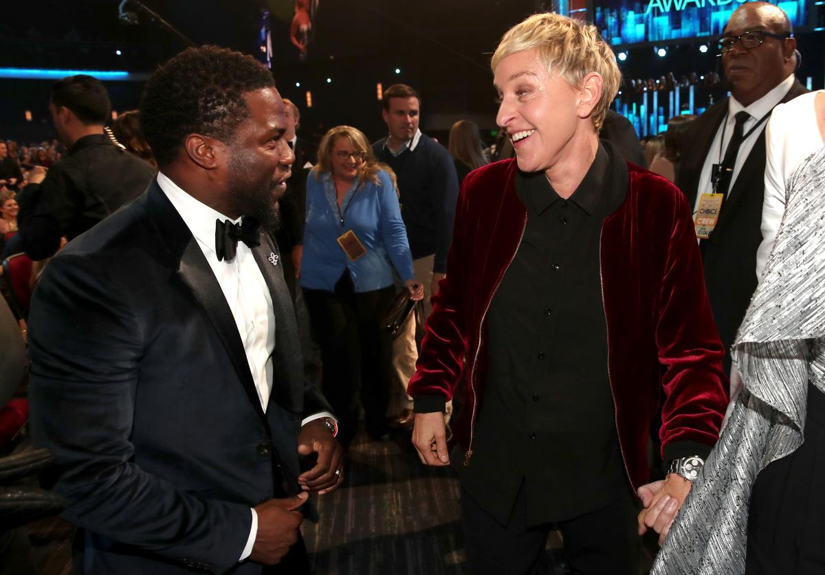 : Actor Kevin Hart (L) and TV personality/actress Ellen DeGeneres attend the People's Choice Awards 2017 at Microsoft Theater on January 18, 2017 in Los Angeles, California.