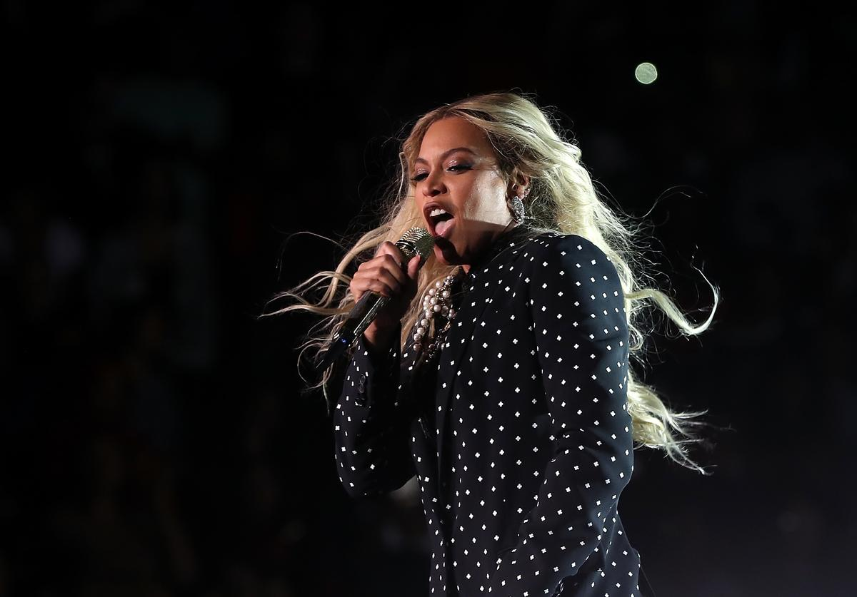 Beyonce performs during a Get Out The Vote concert Democratic presidential nominee former Secretary of State Hillary Clinton at Wolstein Center on November 4, 2016 in Cleveland, Ohio