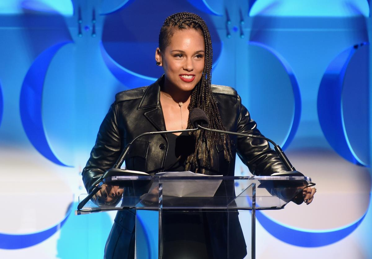 Alicia Keys speaks onstage at the Tidal launch event #TIDALforALL at Skylight at Moynihan Station on March 30, 2015 in New York City.