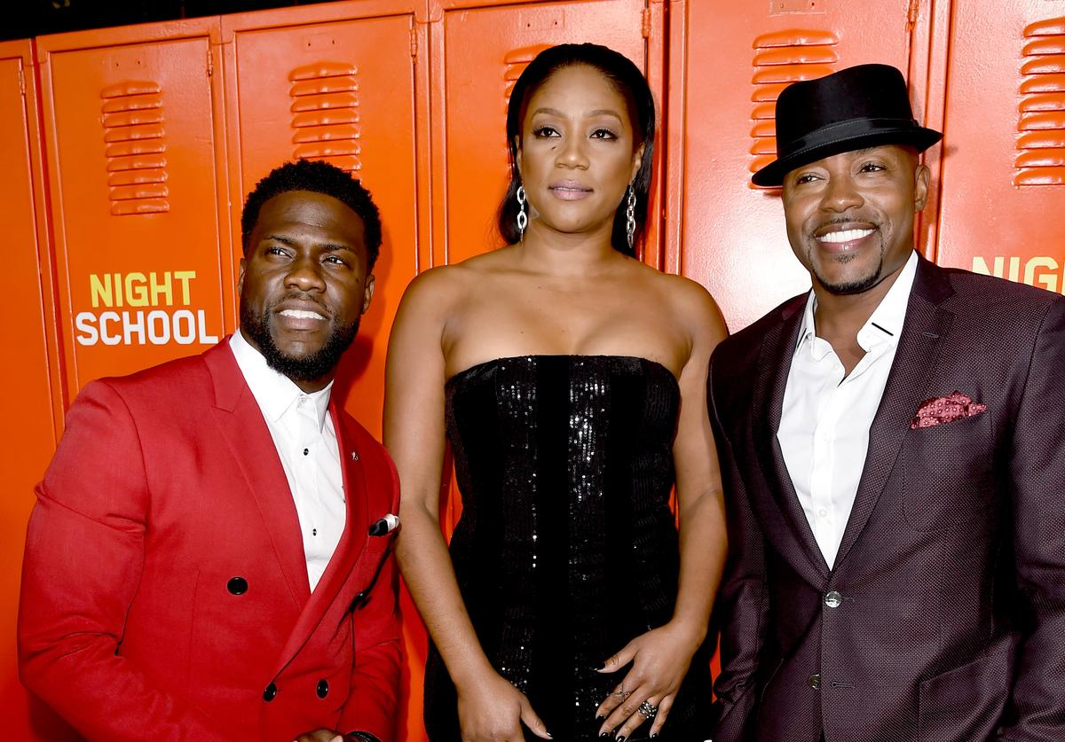 Kevin Hart, Tiffany Haddish and Will Packer arrive at the premiere of Universal Pictures' 'Night School' at the Regal Cinemas L.A. LIVE Stadium 14 on September 24, 2018 in Los Angeles, California.