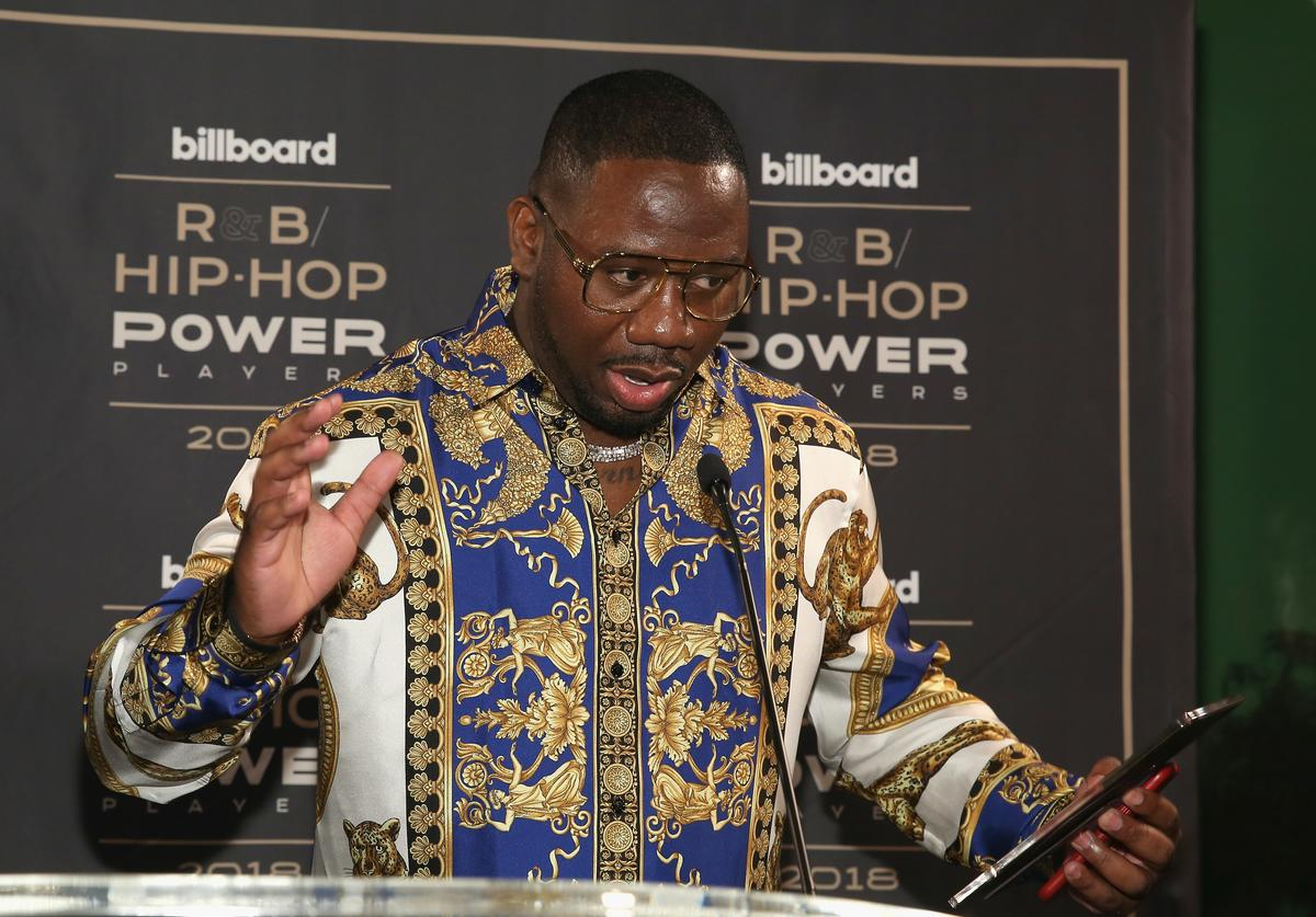 """Quality Control's Pierre """"Pee"""" Thomas speaks onstage at the Billboard 2018 R&B Hip-Hop Power Players event at Legacy Records on September 27, 2018 in New York City."""