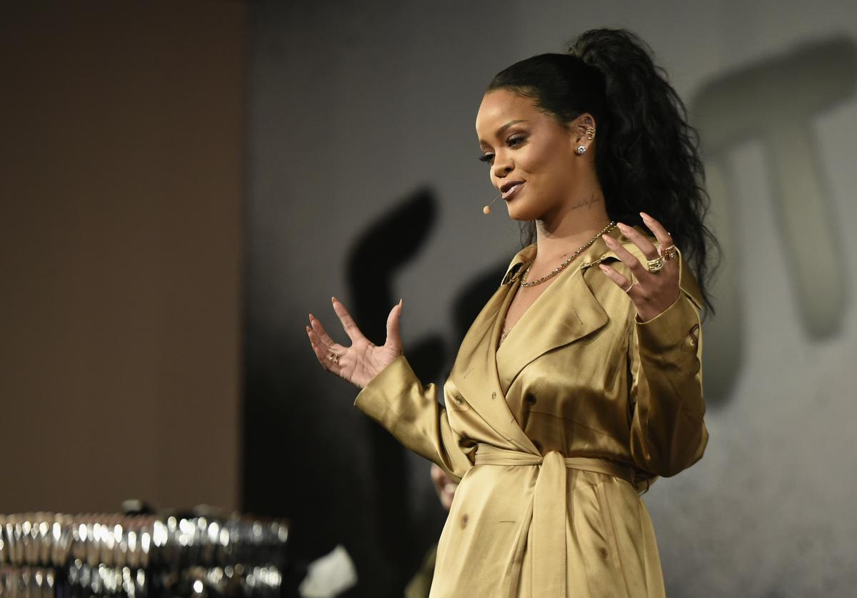 Rihanna speaks during her Fenty Beauty talk in collaboration with Sephora, for the launch of her new Stunna Lip paint 'Uninvited' on September 29, 2018 in Dubai, United Arab Emirates