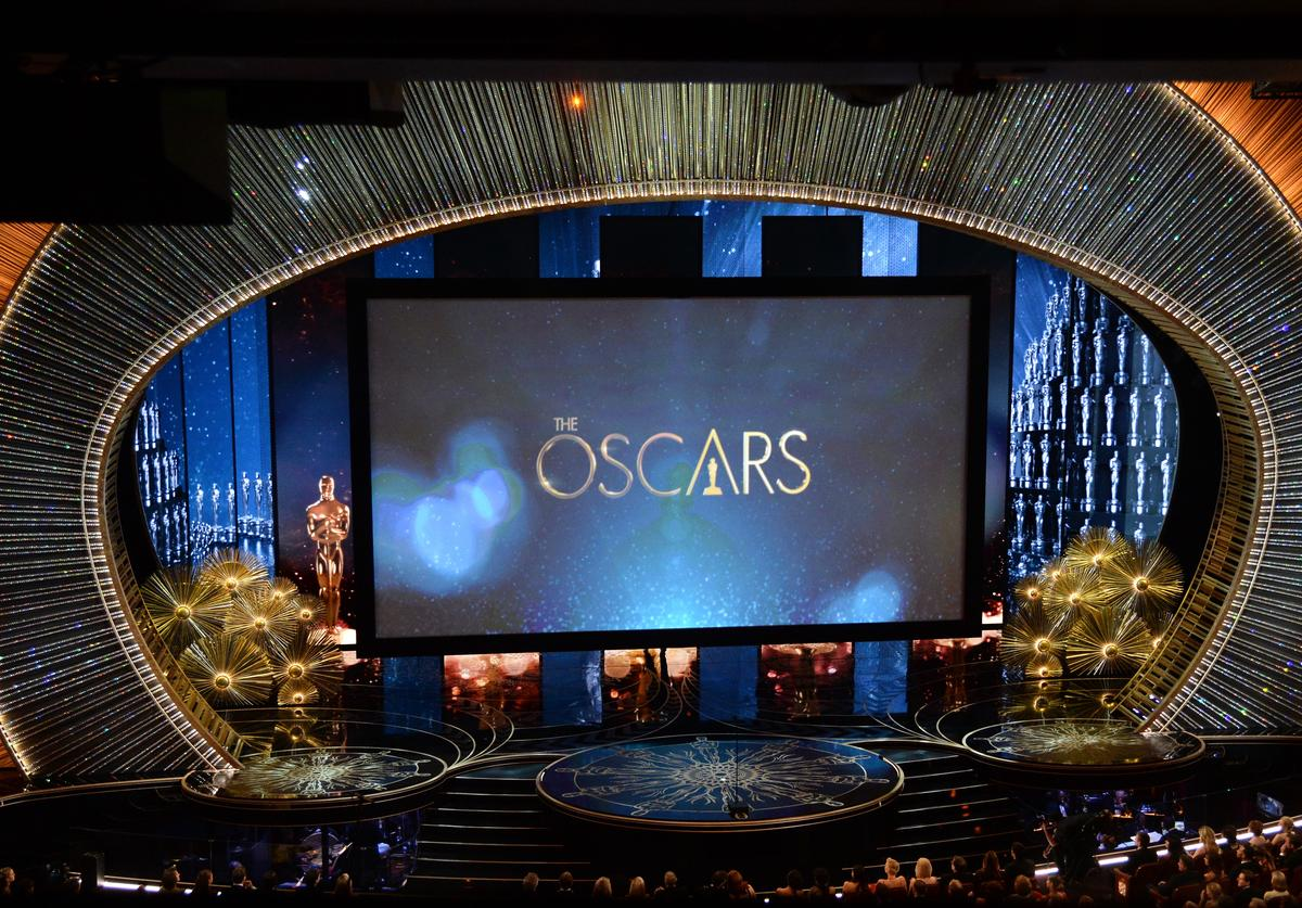 View of the stage during the 88th Annual Academy Awards at the Dolby Theatre on February 28, 2016 in Hollywood, Californi