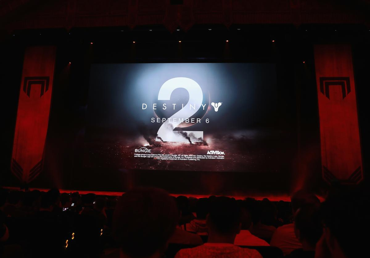 : 'Destiny 2' is displayed during the Sony Playstation E3 conference at the Shrine Auditorium on June 12, 2017 in Los Angeles, California. The E3 Game Conference begins on Tuesday June 13.