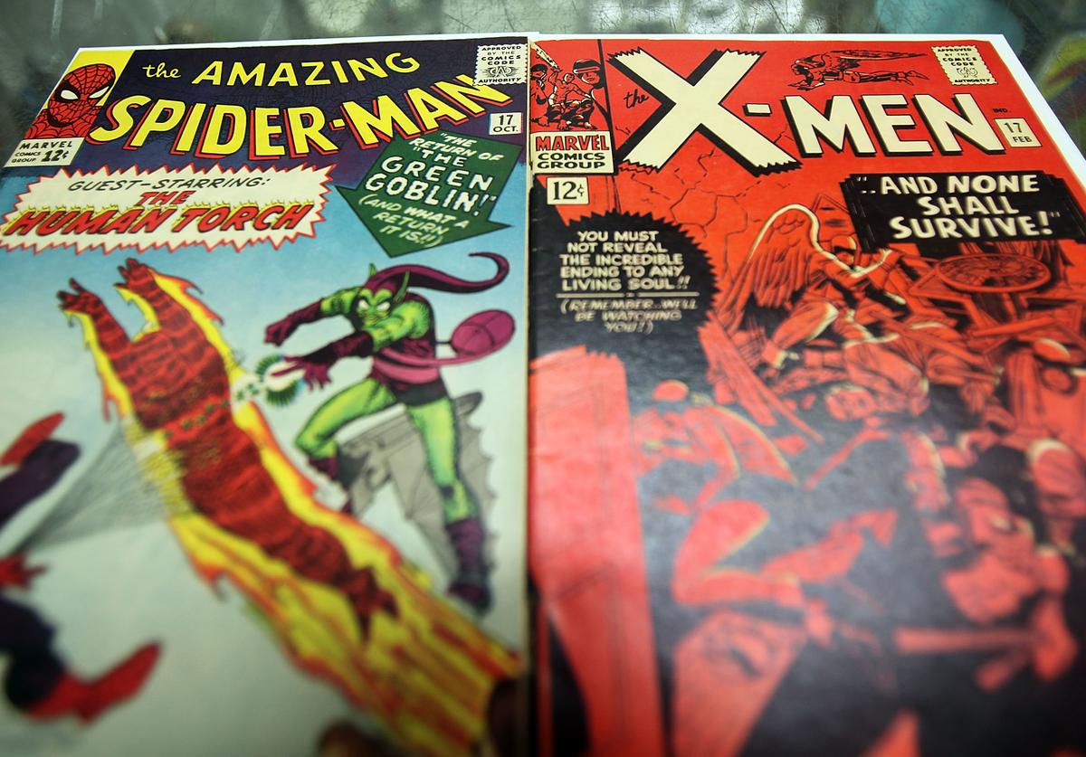Spider Man and X-Men Marvel comic books are seen at St. Mark's Comics August 31, 2009 in New York City