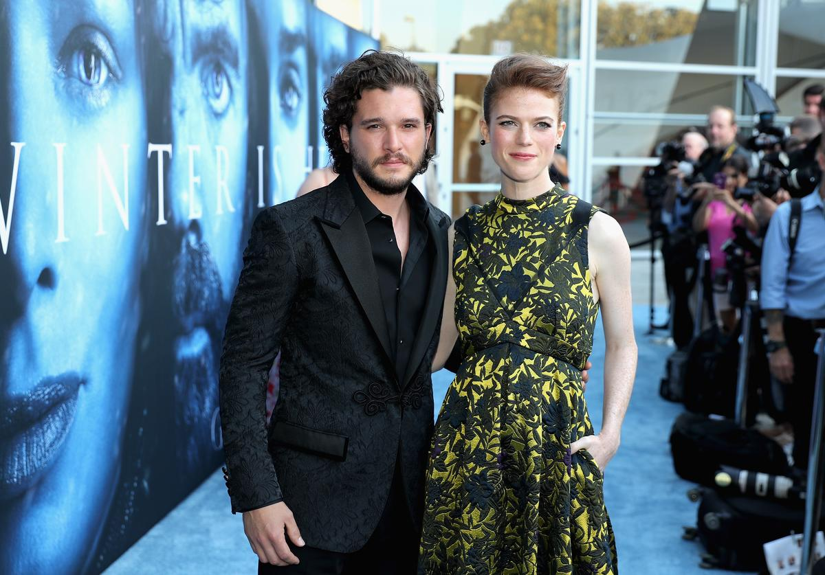 Actors Kit Harington and Rose Leslie attend the premiere of HBO's 'Game Of Thrones' season 7 at Walt Disney Concert Hall on July 12, 2017 in Los Angeles, California.