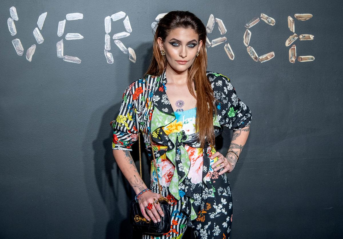 Paris Jackson attends the the Versace fall 2019 fashion show at the American Stock Exchange Building in lower Manhattan on December 02, 2018 in New York City