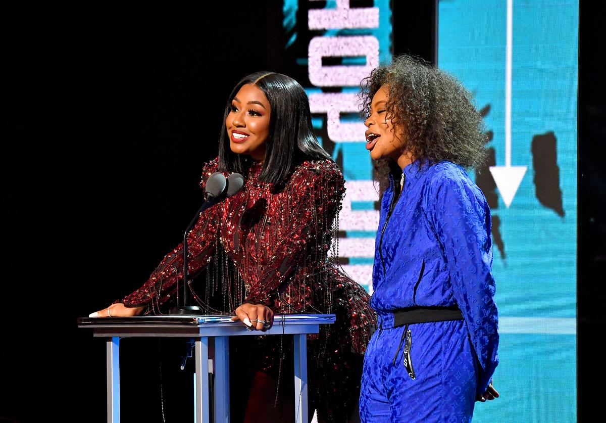 Yung Miami and Kodie Shane onstage during the BET Hip Hop Awards 2018 at Fillmore Miami Beach on October 6, 2018 in Miami Beach, Florida.