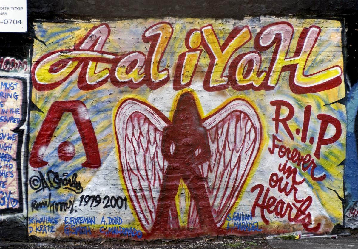 A mural in memory of actress and R & B singer Aaliyah painted on the side of a building in the East Village in New York City