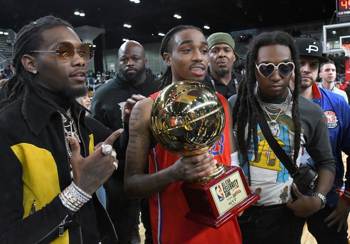 Offset, Quavo, Takeoff of Migos pose during the 2018 NBA All-Star Game Celebrity Game at Los Angeles Convention Center on February 16, 2018 in Los Angeles, California