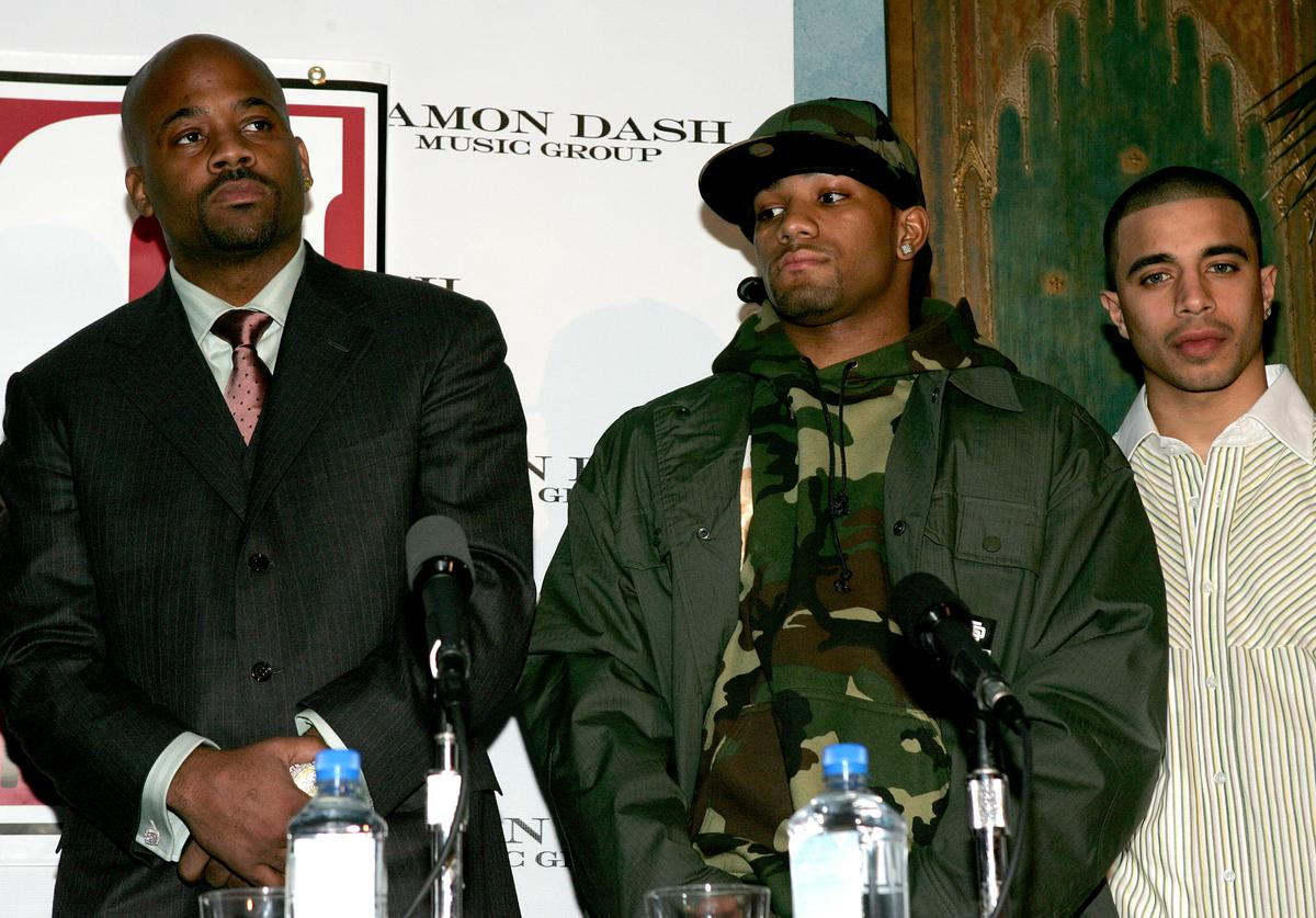 Damon Dash with boxers Curtis Stevens and Gary Stark Jr., announce a new boxing venture at NA January 26, 2005 in New York City.