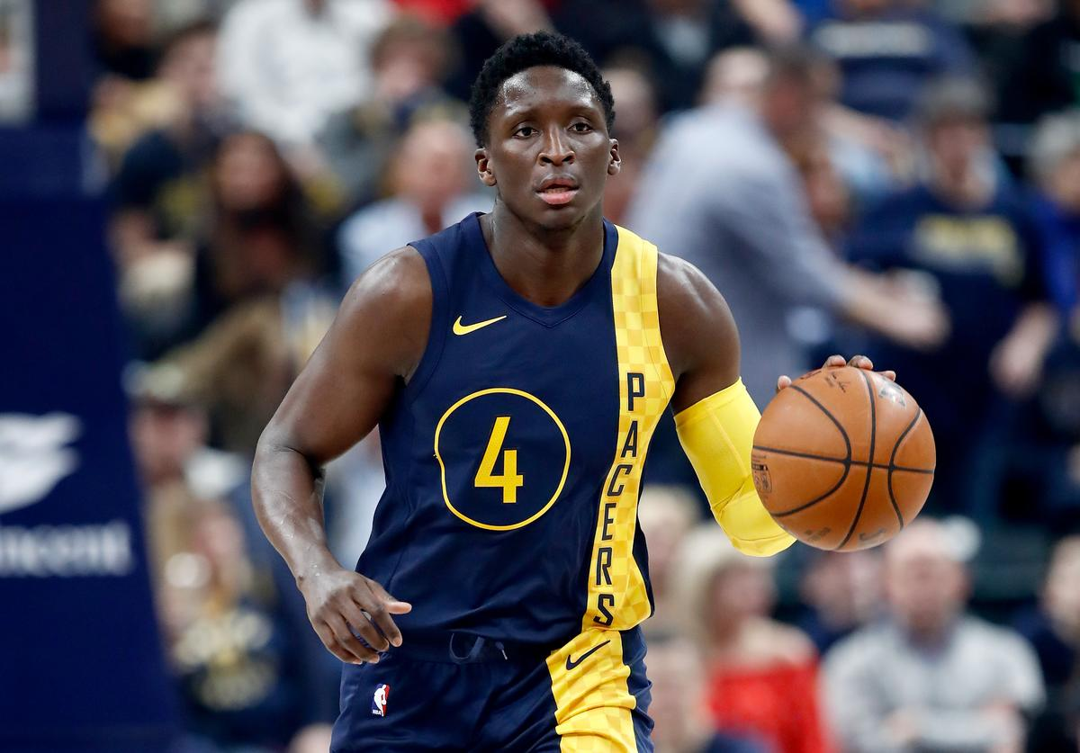 Victor Oladipo #4 of the Indiana Pacers dribbles the ball against the Atlanta Hawks during the game at Bankers Life Fieldhouse on February 23, 2018 in Indianapolis, Indiana.