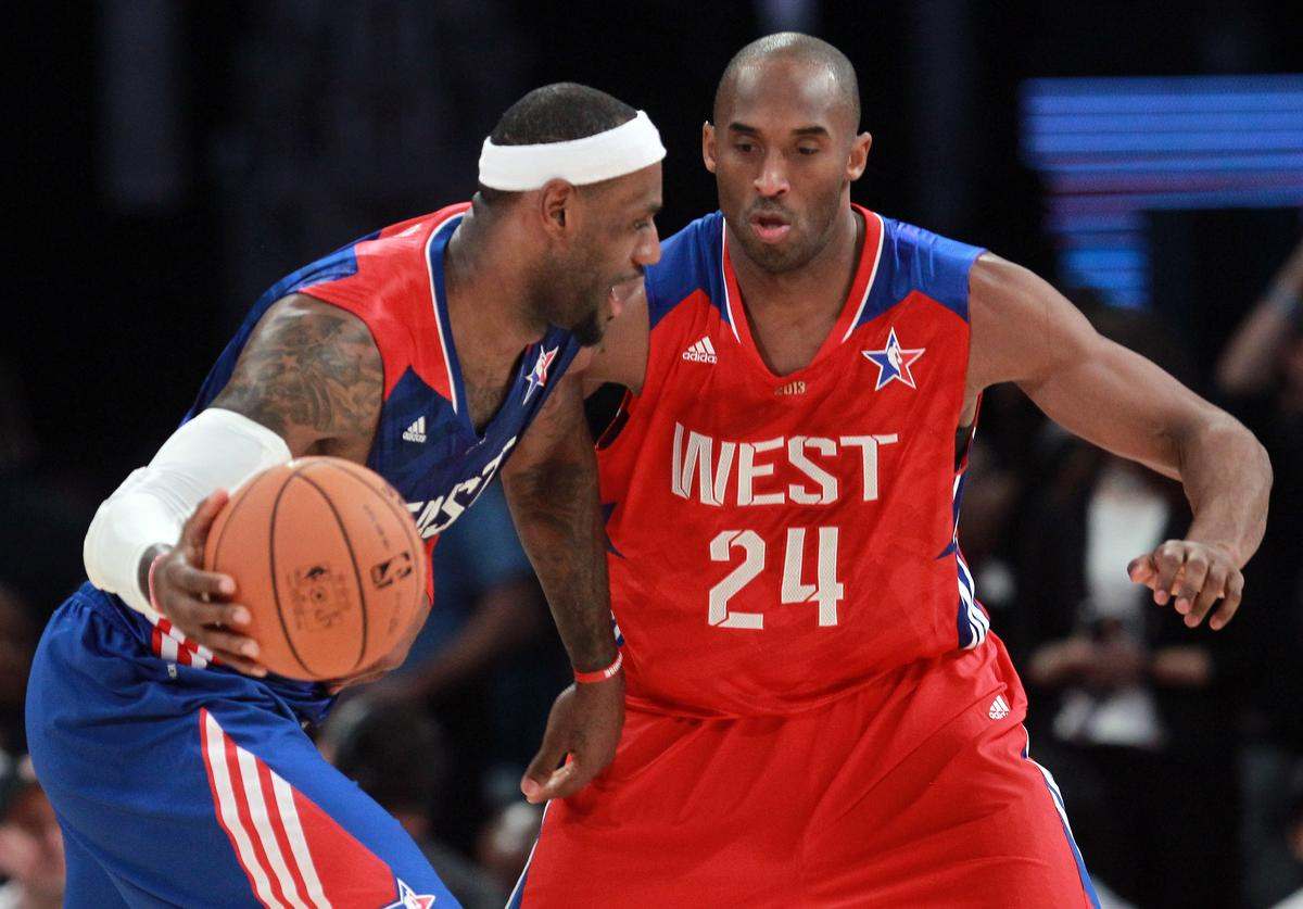 LeBron James #6 of the Miami Heat and the Eastern Conference drives on Kobe Bryant #24 of the Los Angeles Lakers and the Western Conference in the second quarter during the 2013 NBA All-Star game at the Toyota Center on February 17, 2013 in Houston, Texas.
