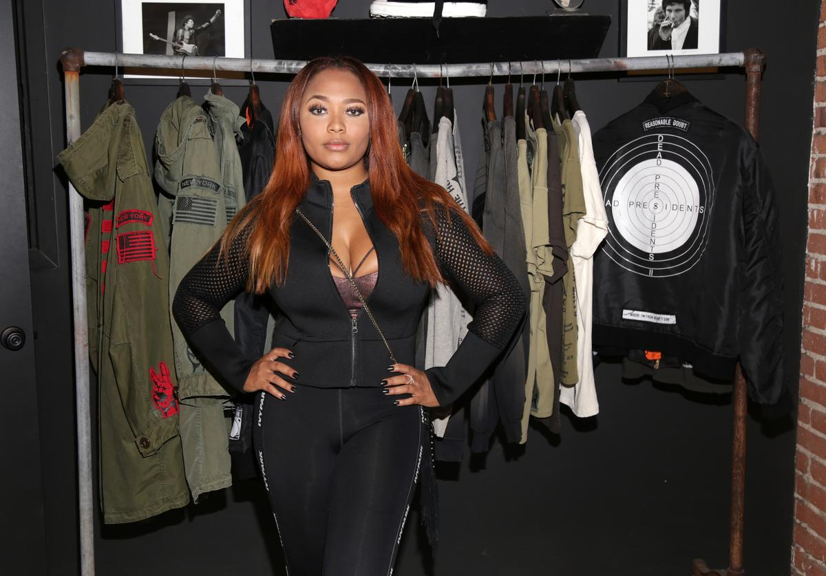 Teairra Mari views the Roc96 x Madeworn collection during the Roc96 x Madeworn Barney's Launch Event at Madeworn Studios on May 4, 2017 in Los Angeles, California.