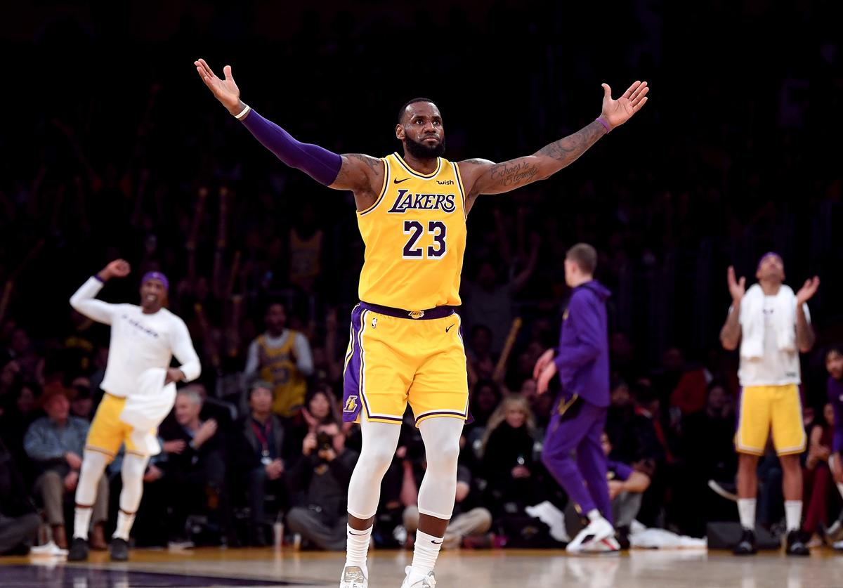 LeBron James #23 of the Los Angeles Lakers celebrates his three pointer during a 104-96 win over the Indiana Pacers at Staples Center on November 29, 2018 in Los Angeles, California. NOTE TO USER: User expressly acknowledges and agrees that, by downloading and or using this photograph, User is consenting to the terms and conditions of the Getty Images License Agreement.