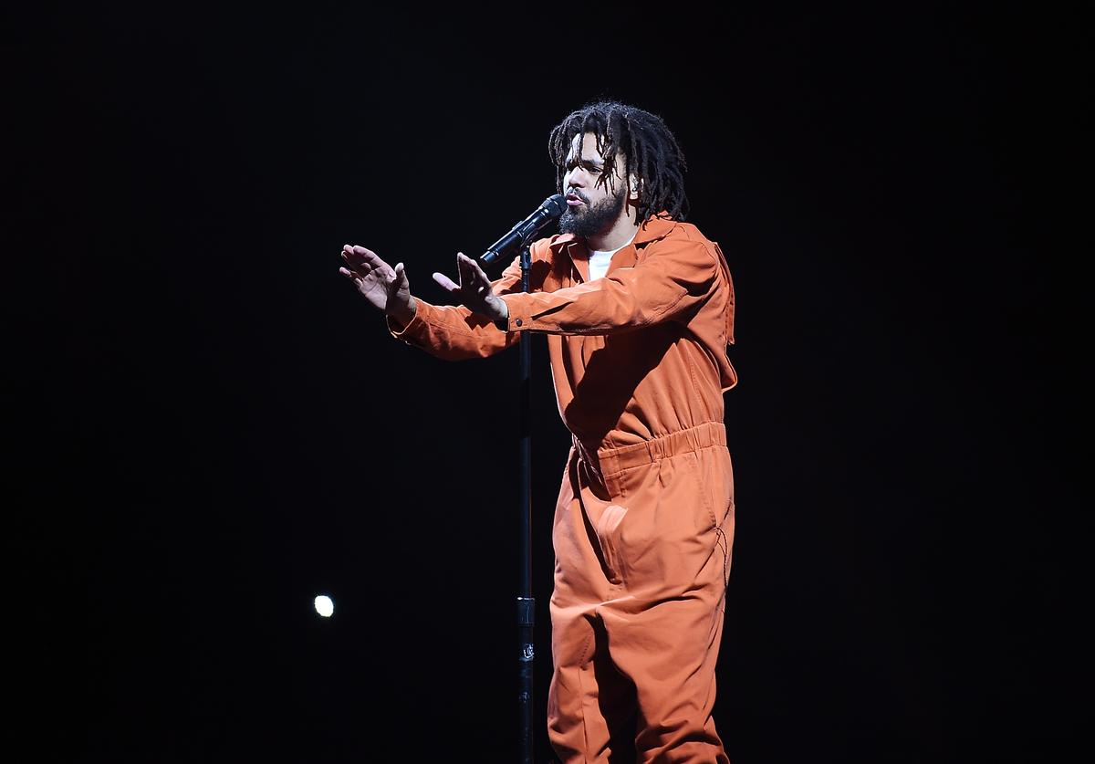 American hip-hop artist J. Cole performs at Barclays Center of Brooklyn on August 1, 2017 in the Brooklyn borough of New York City.