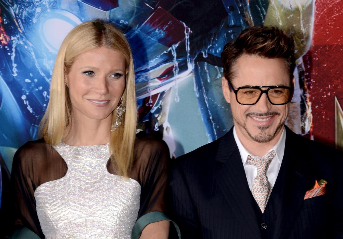 Actors Gwyneth Paltrow (L) and Robert Downey Jr. arrive at the premiere of Walt Disney Pictures' 'Iron Man 3' at the El Capitan Theatre on April 24, 2013 in Hollywood, California.