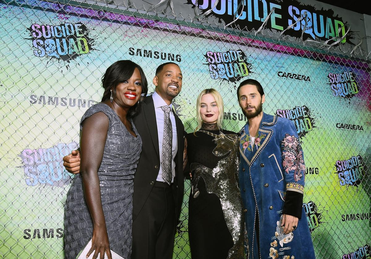 Actors Viola Davis, Will Smith, Margot Robbie, and Jared Leto celebrate the Premiere of 'Suicide Squad' with Samsung at Beacon Theatre on August 1, 2016 in New York, New York.