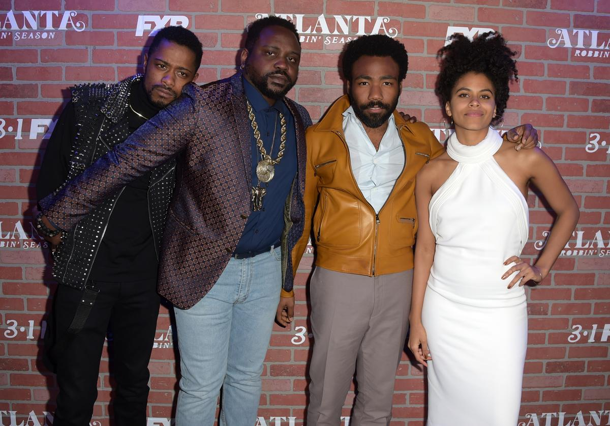 Lakeith Stanfield, Brian Tyree Henry, Donald Glover and Zazie Beetz attend the premiere for FX's 'Atlanta Robbin' Season' at The Theatre at Ace Hotel on February 19, 2018 in Los Angeles, California.