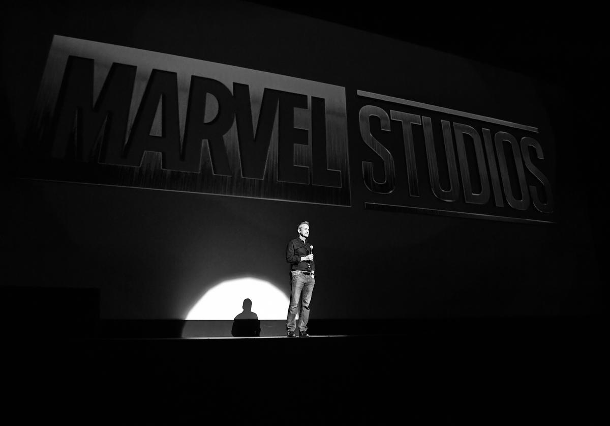Mitch Bell speaks onstage at Marvel Studios' Avengers: Infinity War Screening at The Fox Theatre on April 26, 2018 in Atlanta, Georgia