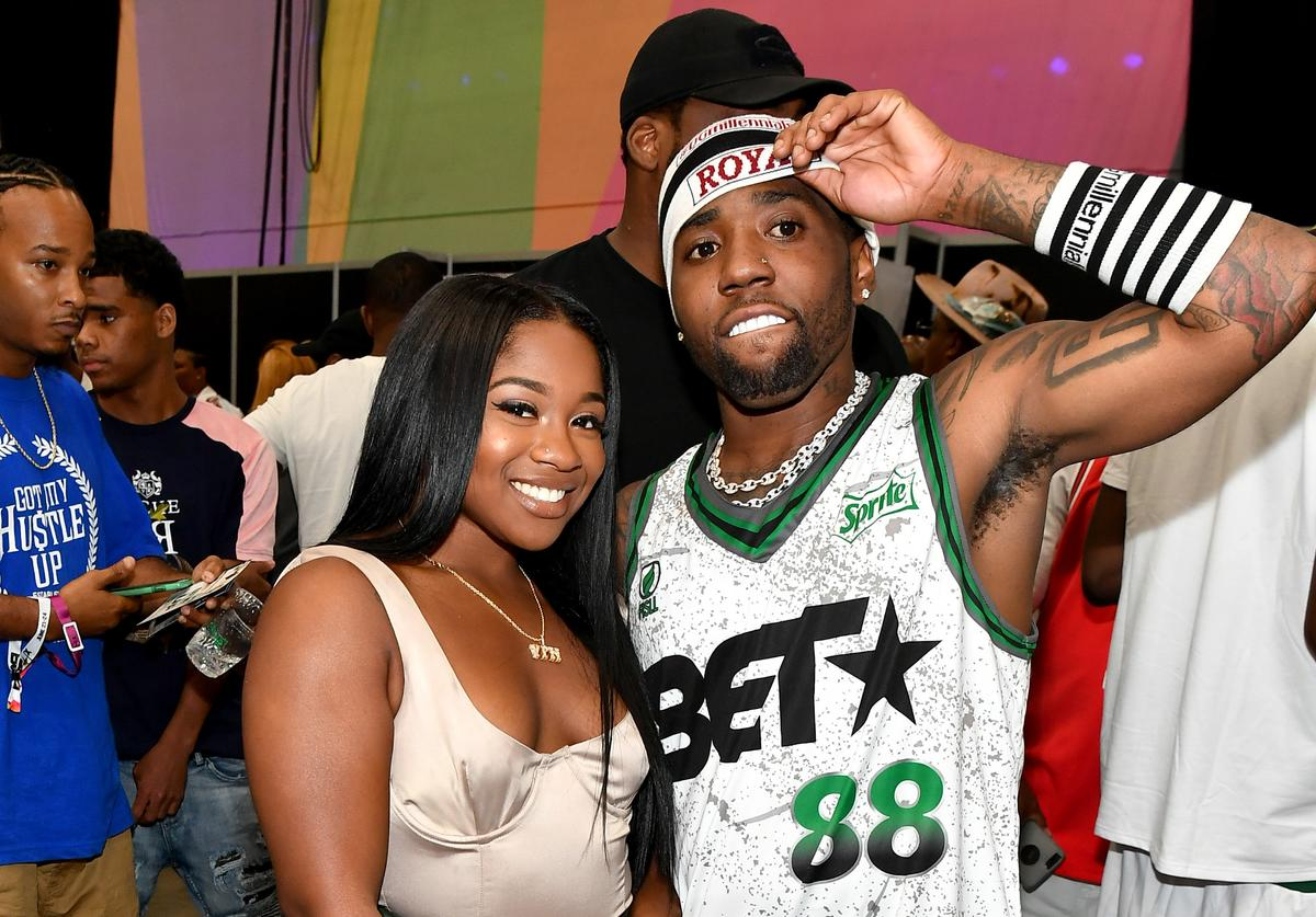 Reginae Carter (L) and YFN Lucci pose at the Celebrity Basketball Game Sponsored By Sprite during the 2018 BET Experience at Los Angeles Convention Center on June 23, 2018 in Los Angeles, California.