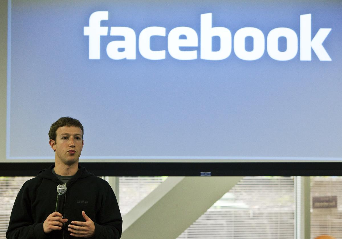 Mark Zuckerberg, chief executive officer of Facebook, holds a press conference at their headquarters in Palo Alto, California, May 26, 2010
