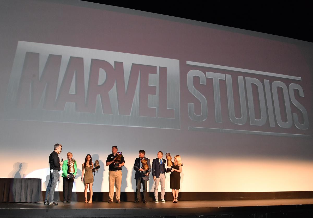 Mitch Bell, Sandra Deal, Marjan Ghadrdan, Mike Dobbs, Ron Clark, and Kim Bearden onstage at Marvel Studios' Avengers: Infinity War Screening at The Fox Theatre on April 26, 2018 in Atlanta, Georgia