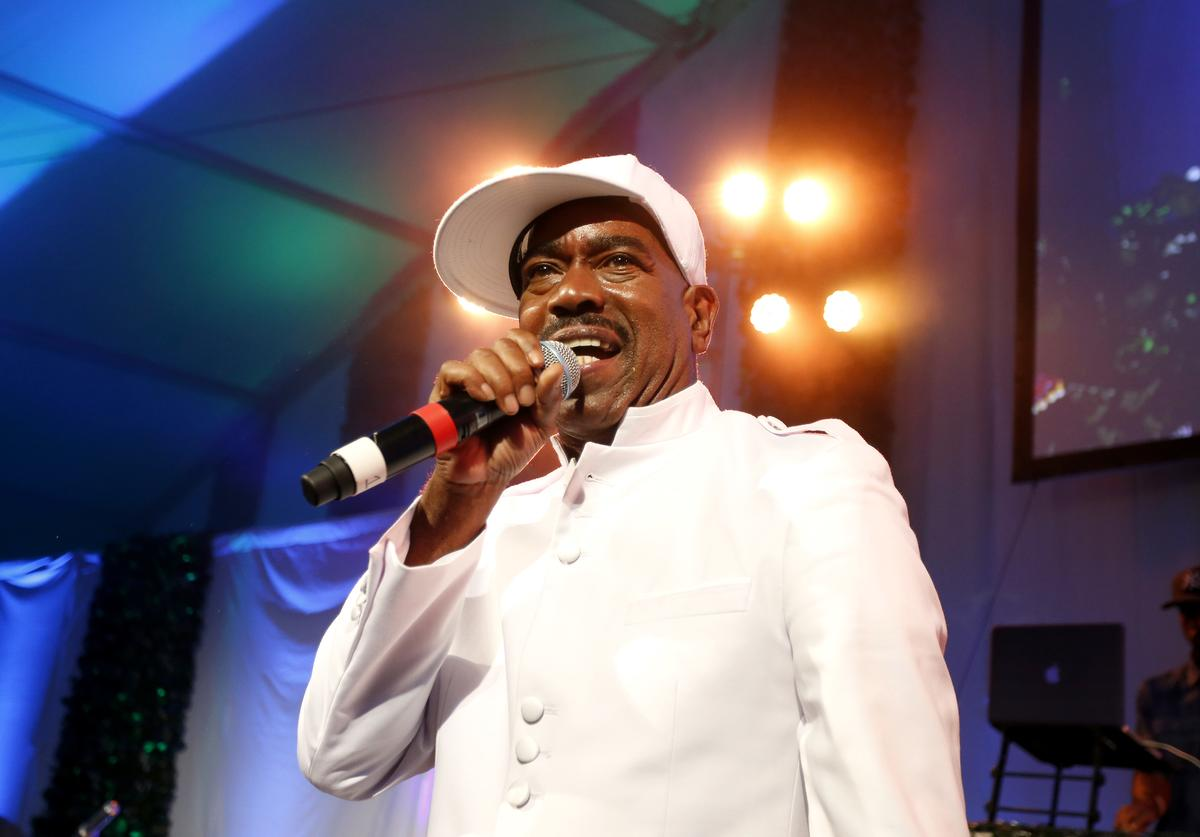 Rapper Kurtis Blow performs on stage at the 15th annual Art for Life Gala hosted by Russell and Danny Simmons at Fairview Farms on July 26, 2014 in Water Mill, New York.